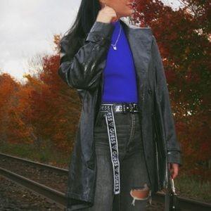 Black Snakeskin Leather Blazer/Coat